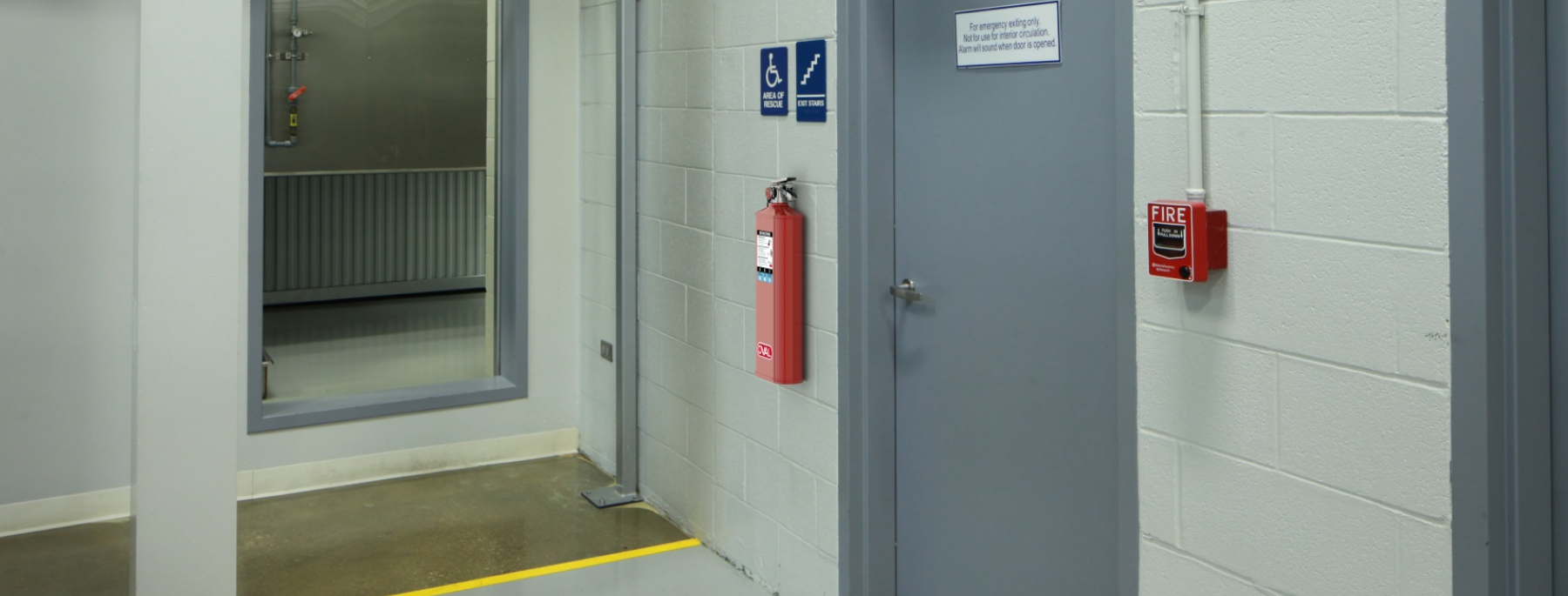 Oval fire extinguisher stairwell